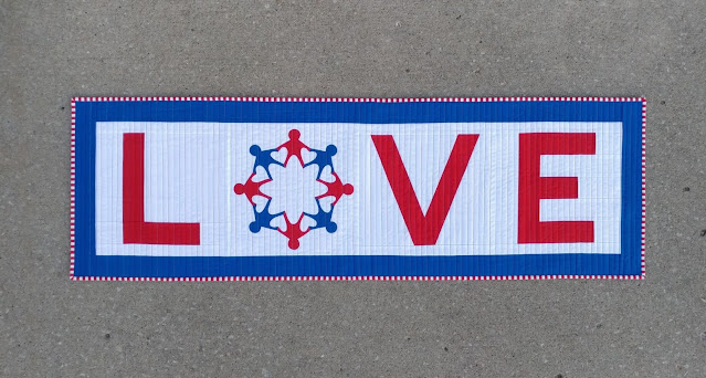 Love / Vote red white and blue quilt