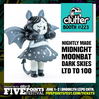 Five Points Festival 2019 Exclusive Midnight Moonbat Dark Skies Edition Vinyl Figure by Nightly Made x Clutter