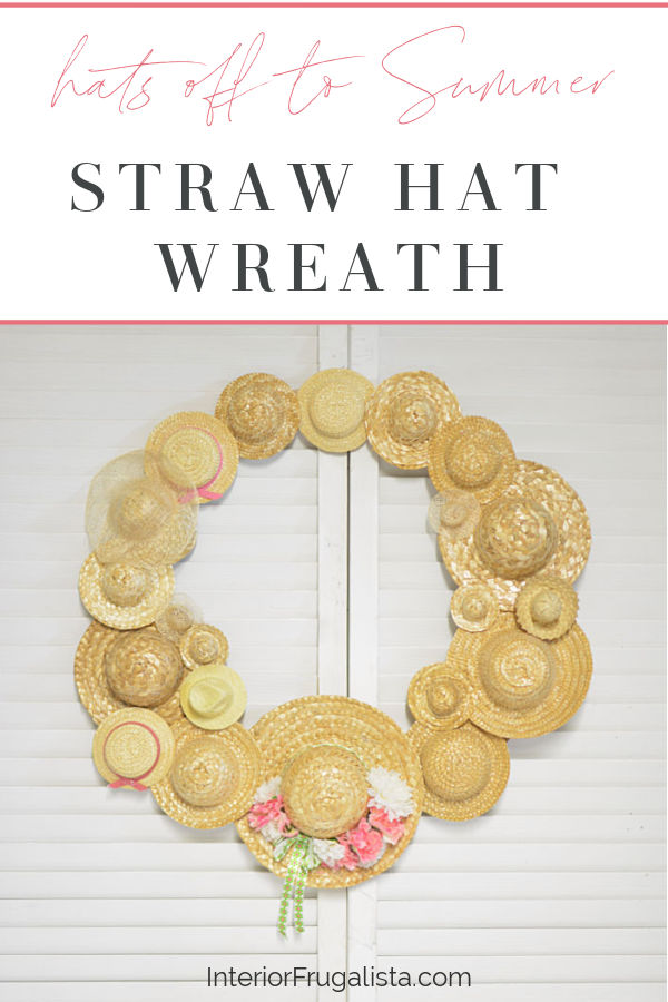 An easy DIY Summer Hat Wreath idea with recycled miniature straw hats. A budget-friendly summer craft idea with thrift store and dollar store finds. #strawhatideas #hatcrafts #wreathideas #handmadewreath