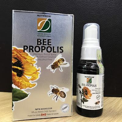 xịt họng keo ong Nutridom Premium bee propolis của Canada