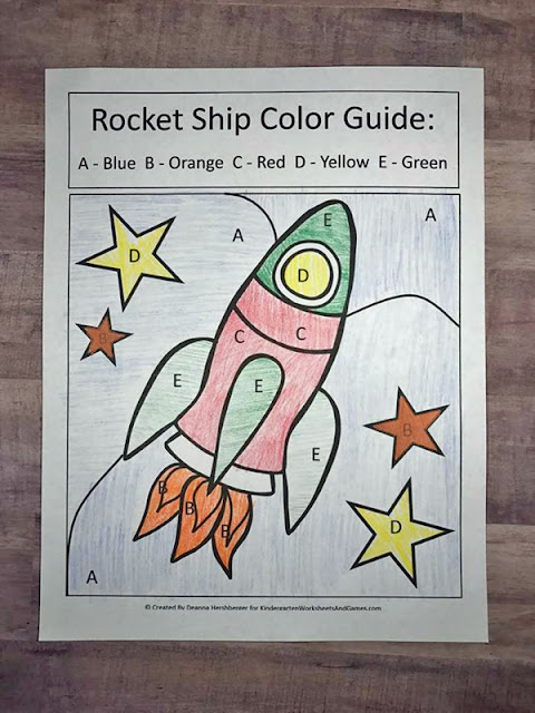FREE Outer Space Color by Letter Worksheets to help preschool, prek, and kindergarten age kids practice finding alphabet letters.