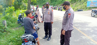 Polsek Cendana Polres Enrekang Tak Gentar Melaksanakan Oprasi Yustisi Di Pimpin Langsung Kapolsek