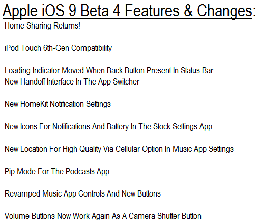 Apple iOS 9 Beta 4 Features