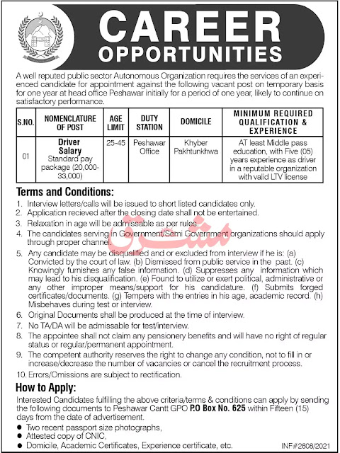 Public Sector Organization KPK Jobs 2021 || Public Sector Organization jobs 2021 Adbertisement