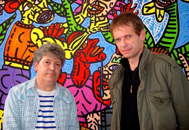 Robert Combas & Klaus Guingand - 2008 - Paris - France.  Robert Combas studio  © Muriel Bonel