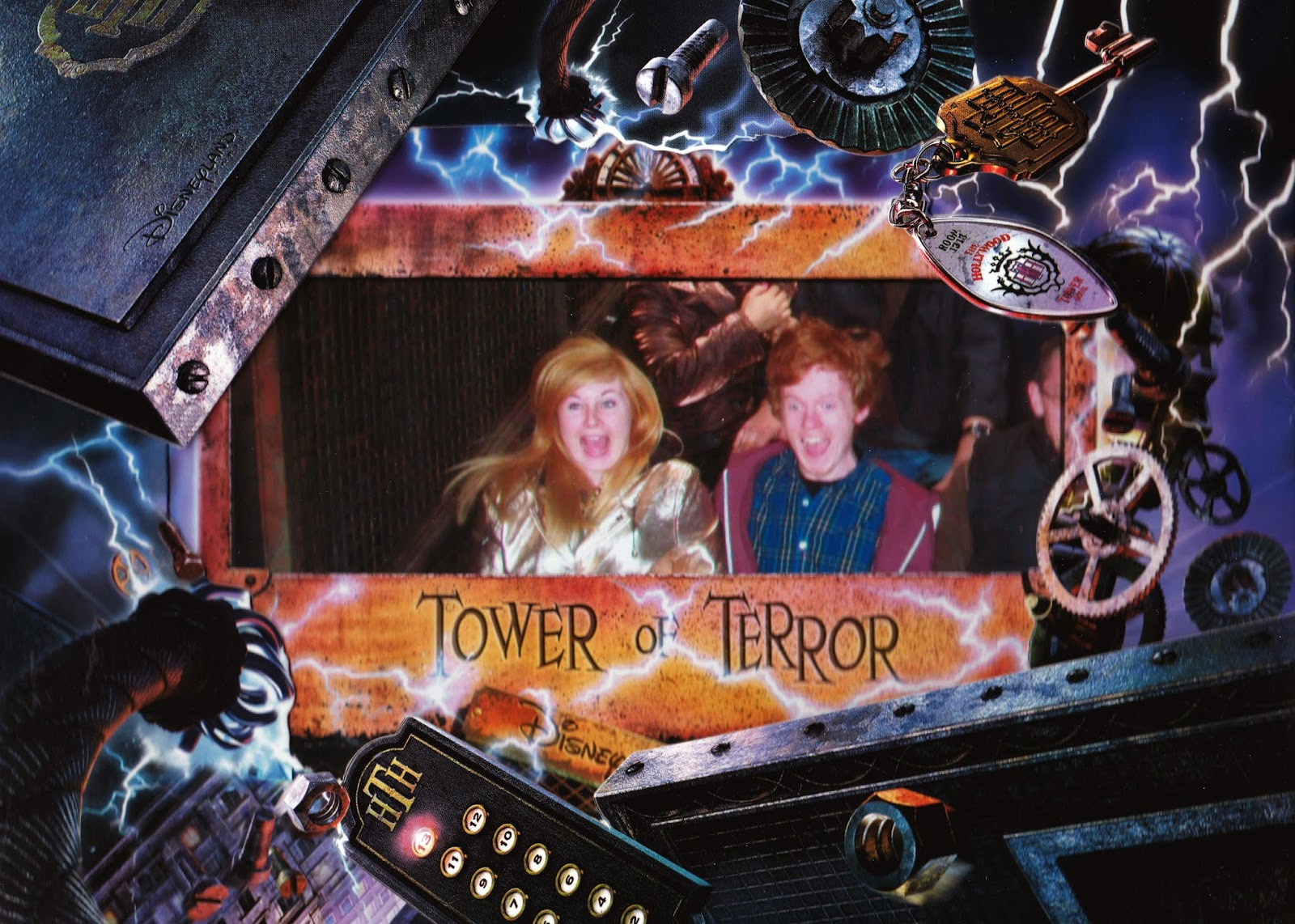 A ride photograph taken of us on the Tower of Terror