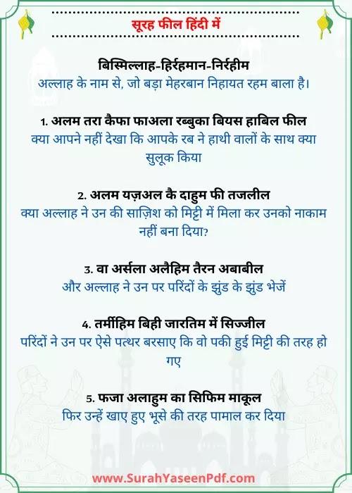 Alam Tara Kaifa Surah Hindi Image