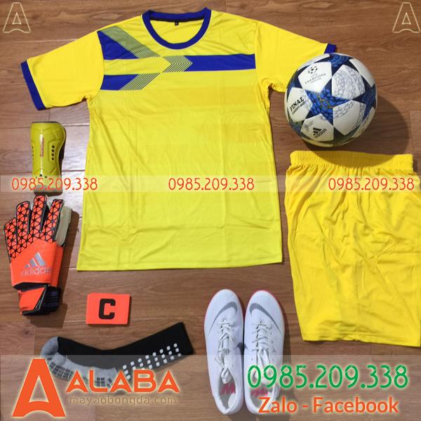 Áo bóng đá không logo màu vàng