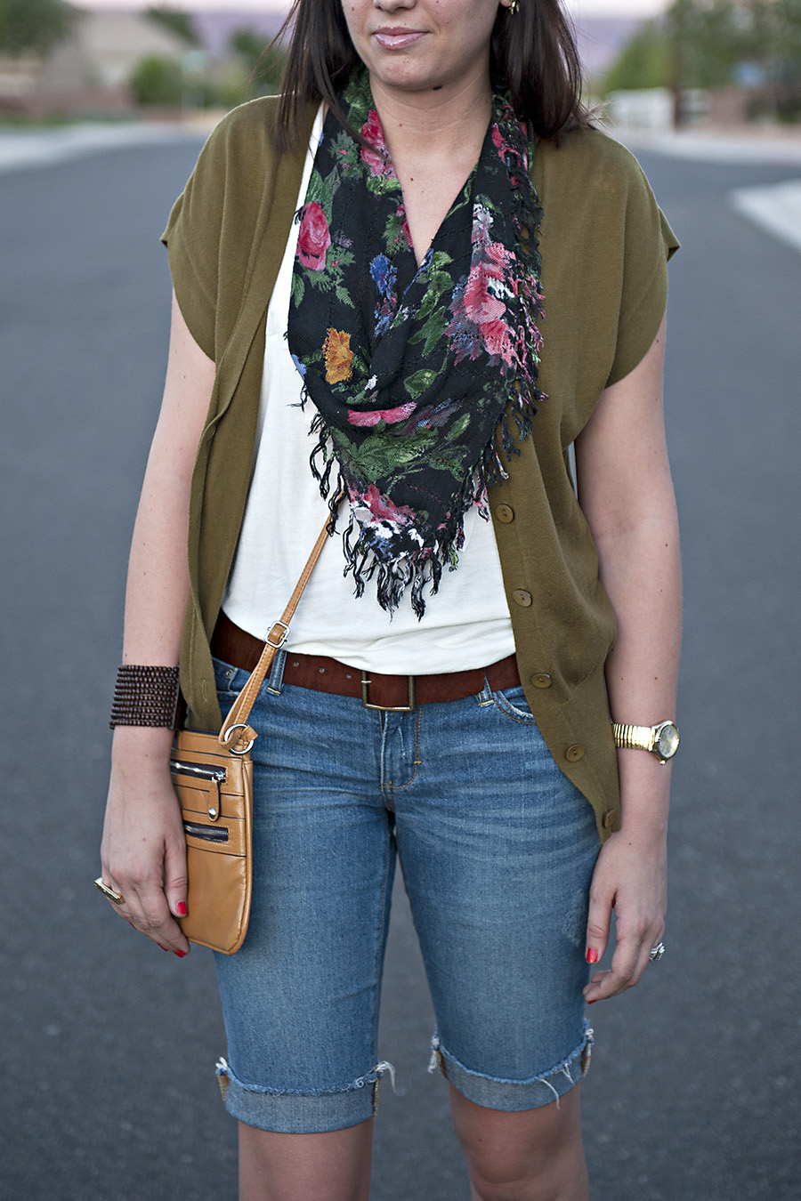 Floral Scarf, White top