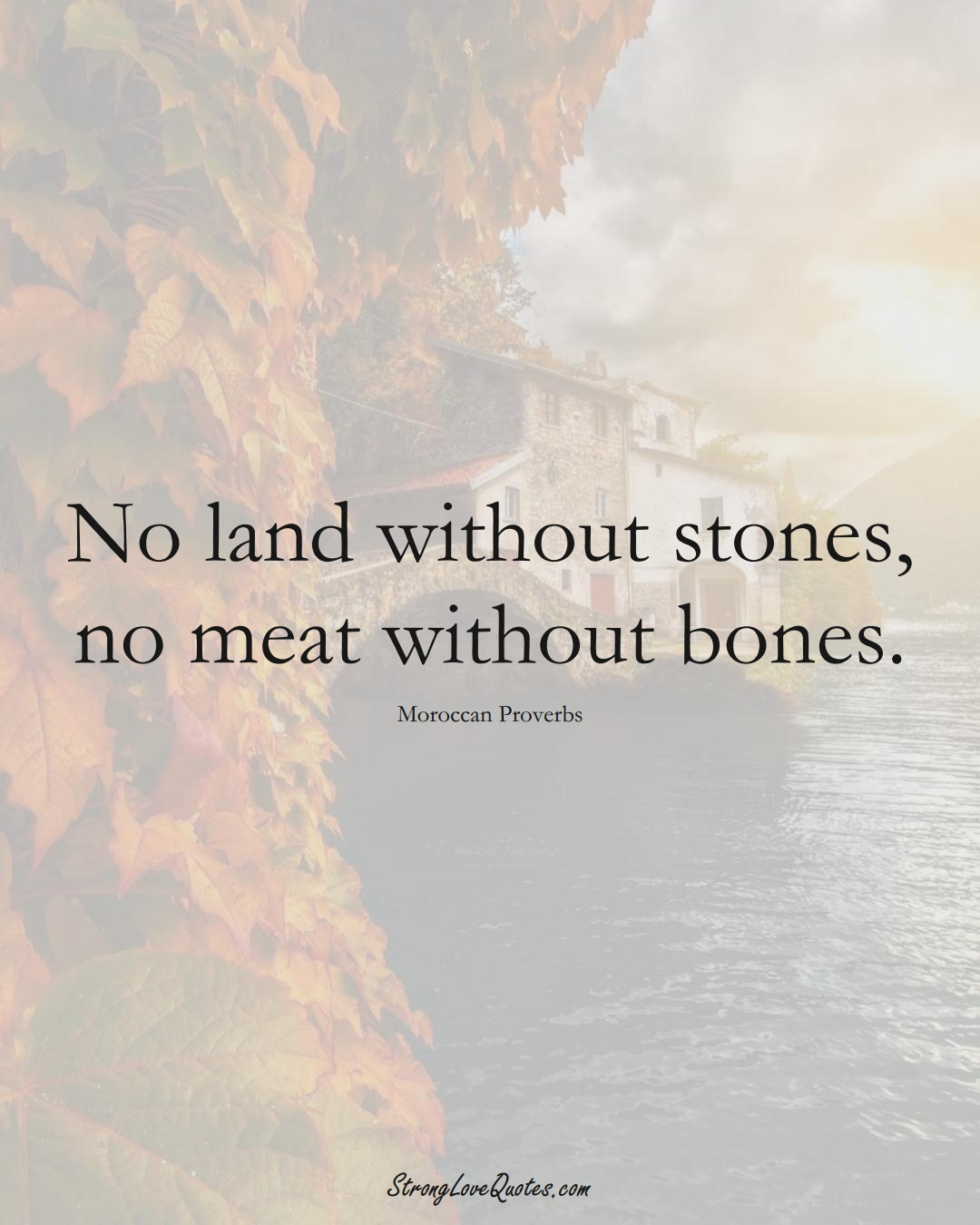 No land without stones, no meat without bones. (Moroccan Sayings);  #AfricanSayings