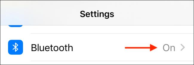 حدد Bluetooth من تطبيق الإعدادات