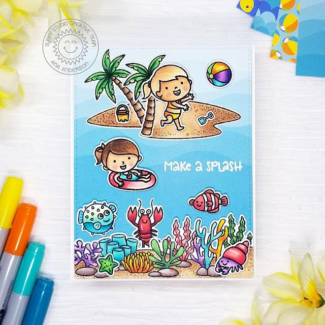 Sunny Studio Stamps: Tropical Scenes Beach Babies Best Fishes Summer Themed Card by Ana Anderson