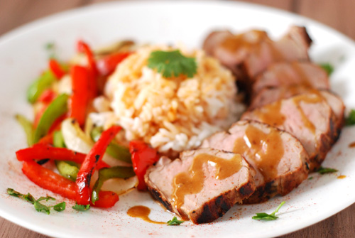 grilled thai pork tenderloin with peanut sauce