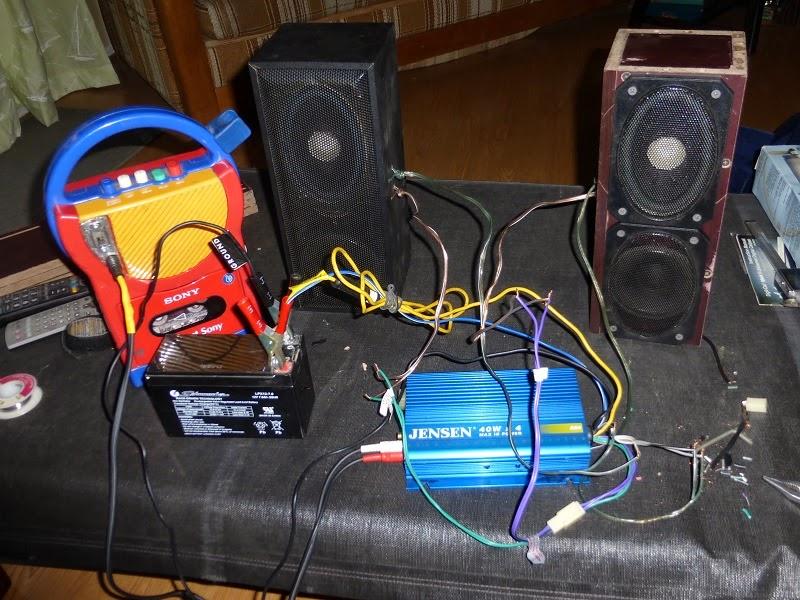 tangled mess of testing the bike stereo