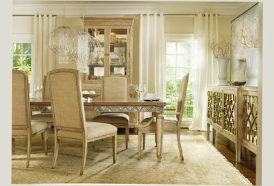 Photo of Hooker Furniture Mirror Dining Table Set Soft Color With Simple Chair