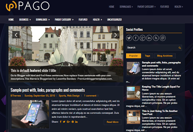 Pago Blogger Template