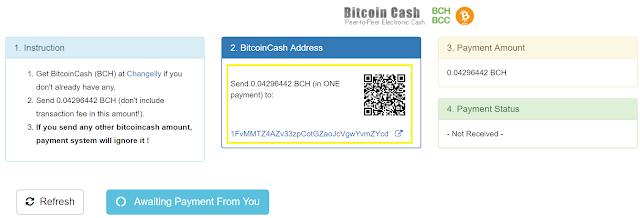 paiement en bitcoin cash