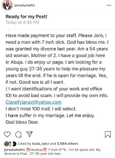 "Internet On Stand Stills As 54 Year Old Abuja Woman Requested For ""Man With 7 Inch DEEk"""
