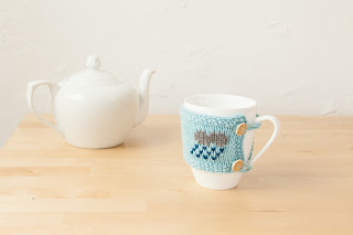 mug cozies, weather, yarn, knitting, blue, raincloud