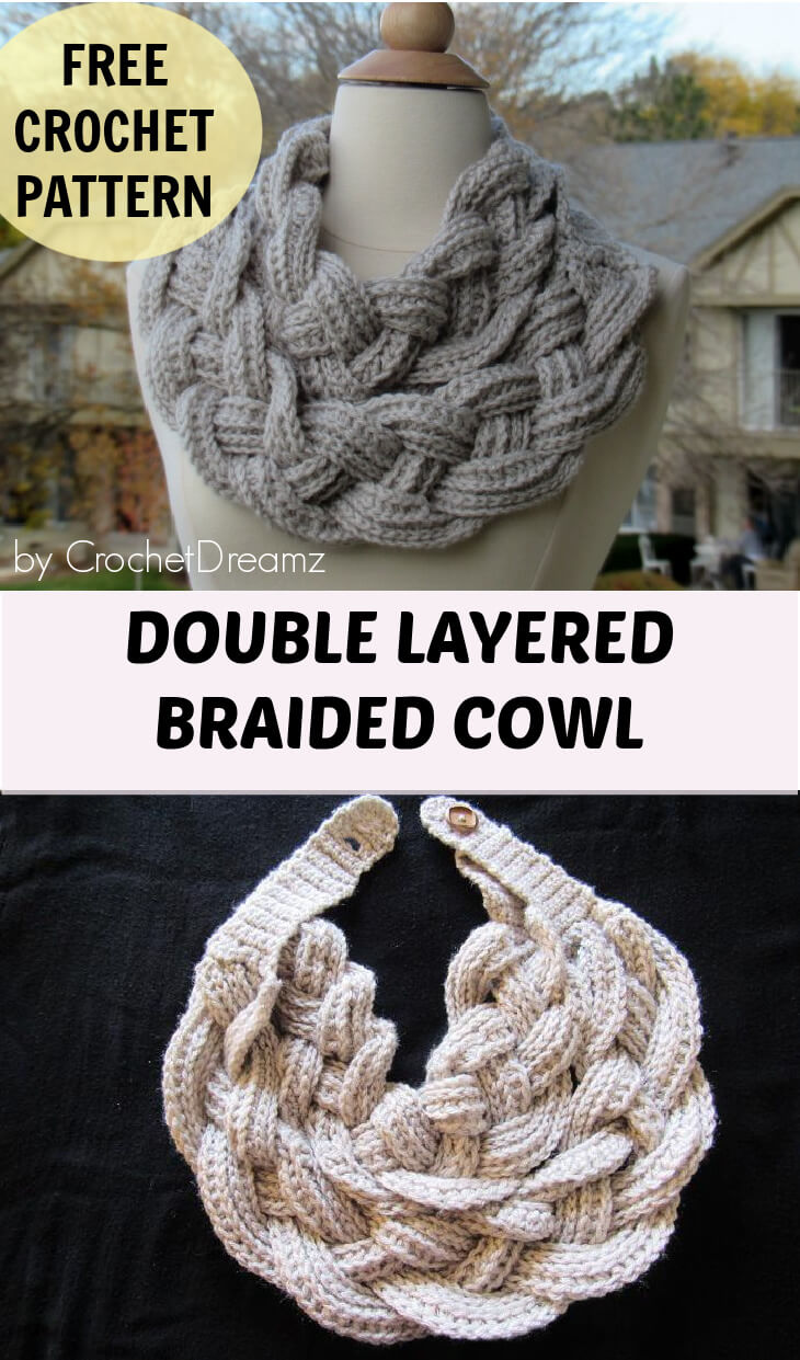 Double Layered Braided Cowl,Free Crochet Pattern with Video Tutorial