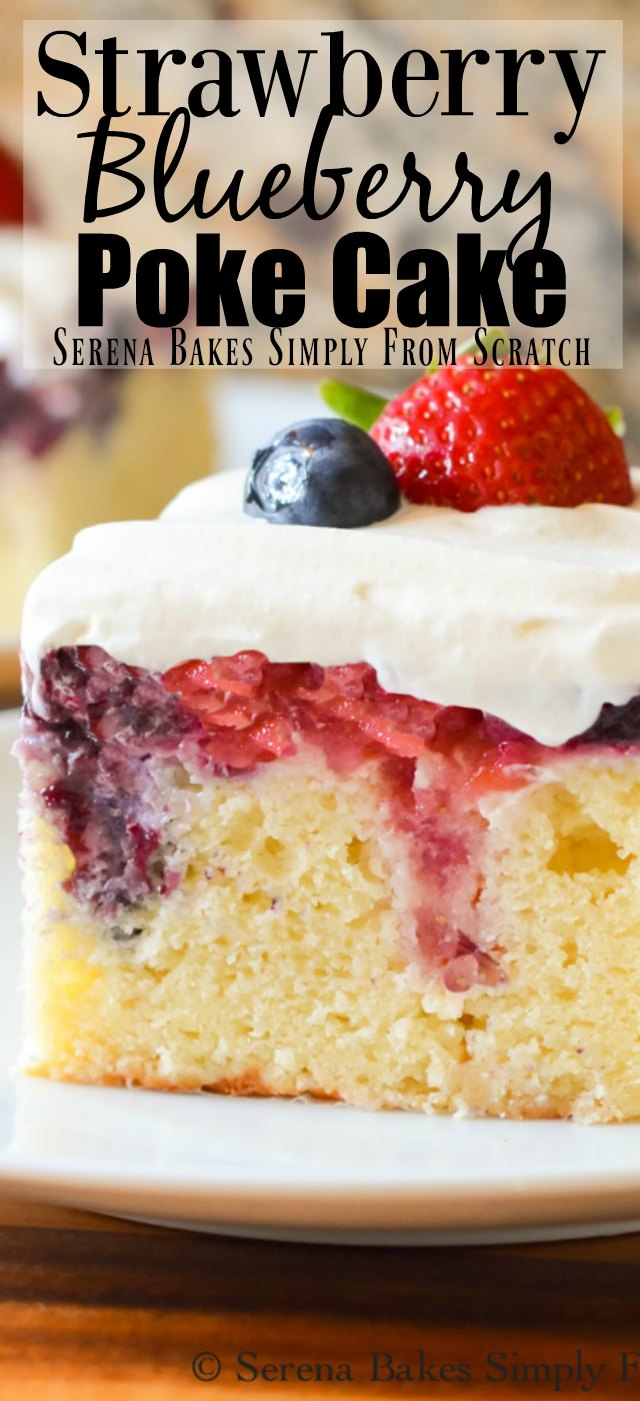 Red White and Blue Patriotic Poke Cake with Strawberry Blueberry Filling.
