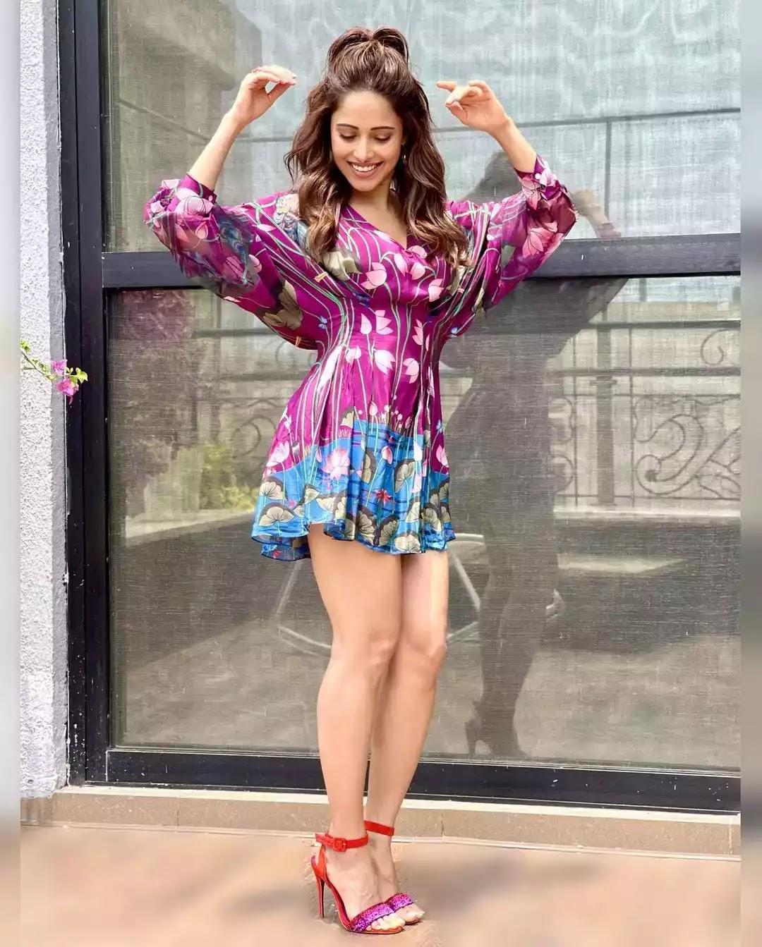 nushrat-barucha-hot-sexy-looks-in-purple-mini-dress