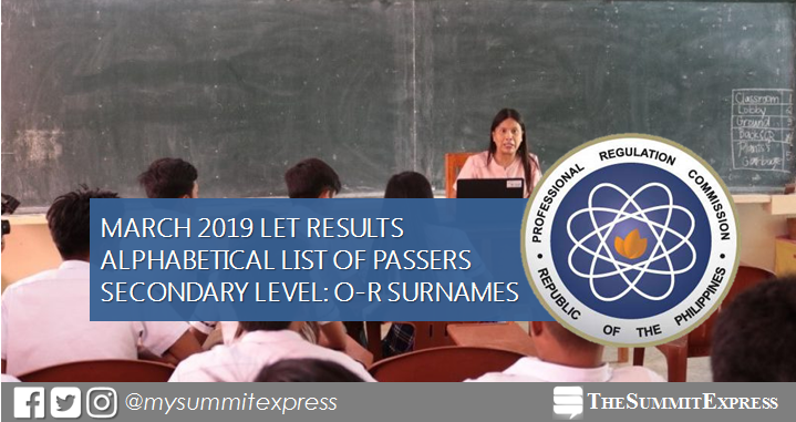 O-R Passers: March 2019 LET Exam Result Secondary