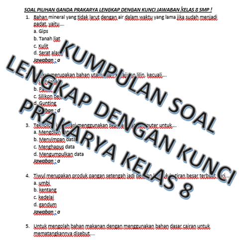 80 Soal Dan Kunci Jawaban Prakarya Kelas 8 Smp Kherysuryawan Id