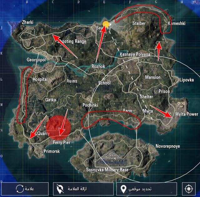 أين القى الطائرة الشراعية في ببجي صور على الخريطة