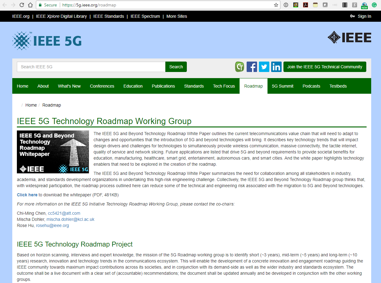 Technology Management Image: IEEE Publishes 5G And Beyond Technology Roadmap White