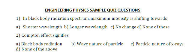 Engineering Physics Sample Quiz