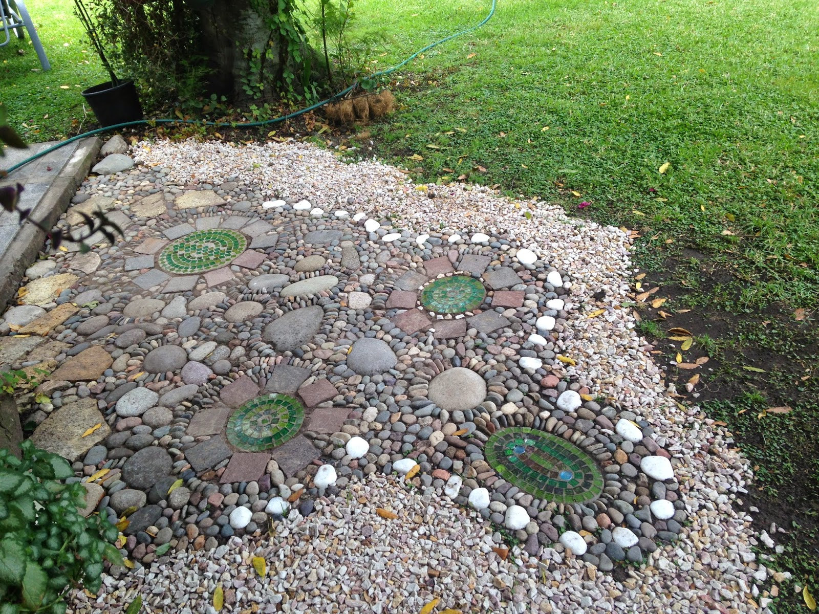 Fui completando con piedra bola grande y chicas alrededor for Como disenar un jardin grande