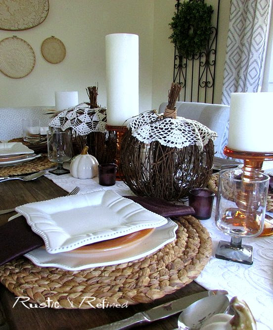 Tablescape for Fall using vintage and modern elements.