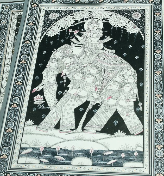 Krishna and his Gopikas Patta Chitra created by the chitrakaars of Raghurajpur, Odisha