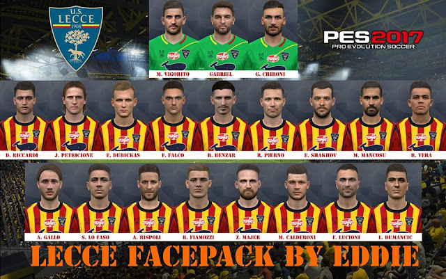 PES 2017 Lecce Facepack For PC by Eddie Facemakers
