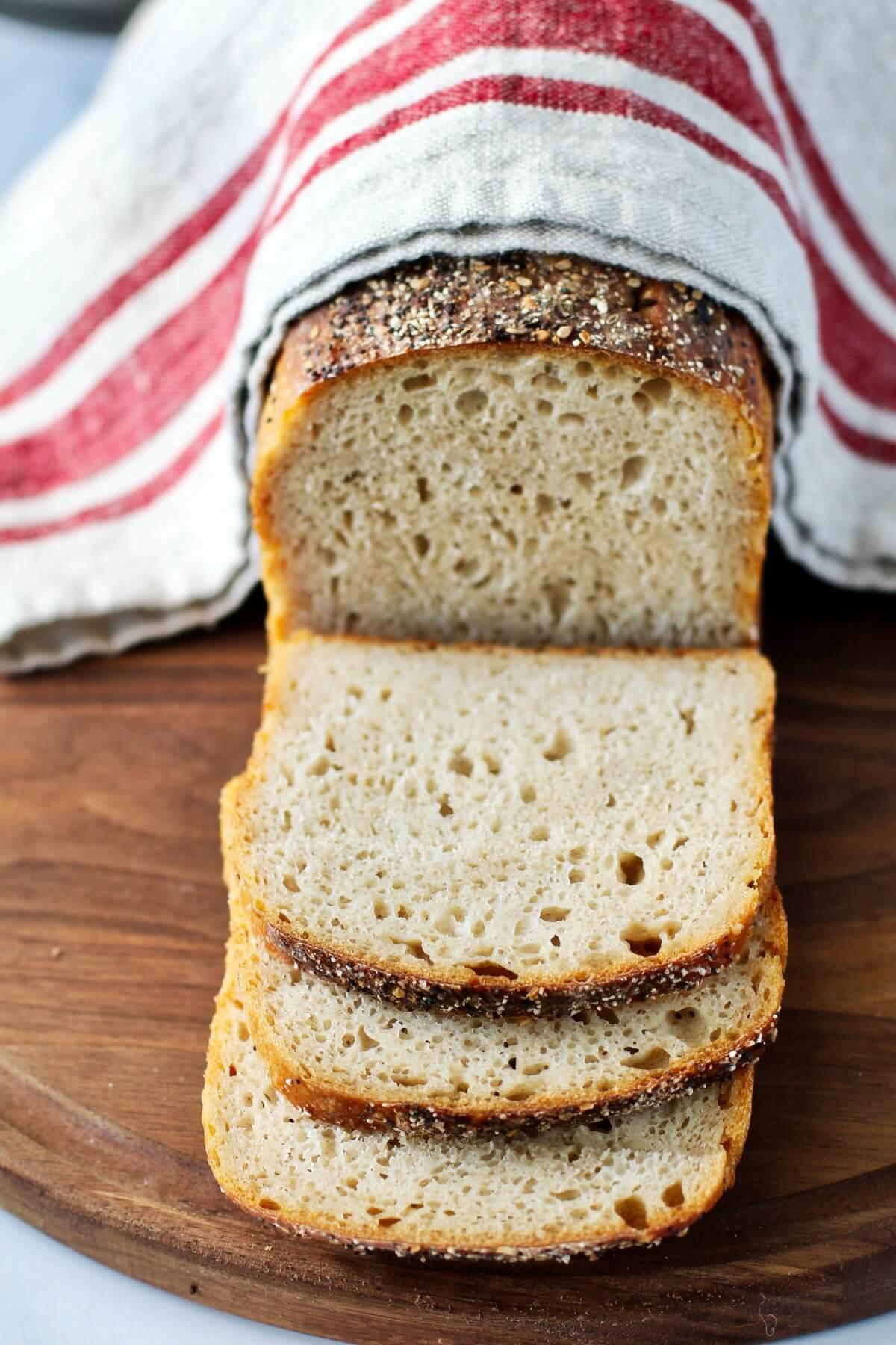 No Knead Sourdough Sandwich Bread with rye.