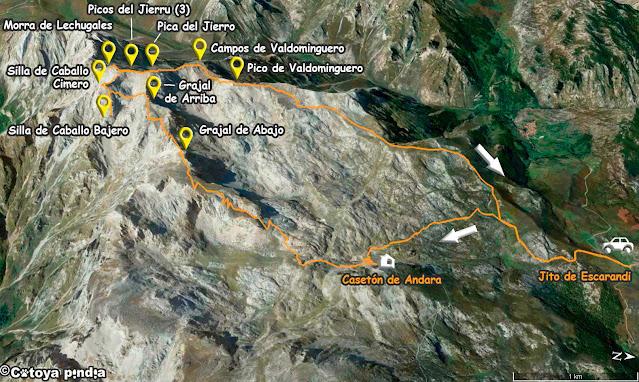 Mapa de la ruta circular a la Morra de Lechugales y 8 dosmiles más del entorno del Andara.