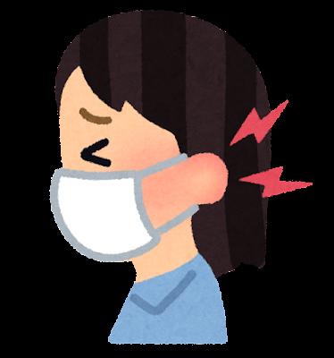 マスクで耳が痛い人のイラスト