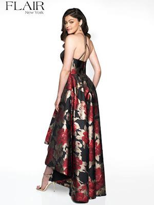 Brocade Hi-low prom black-red color dress back side