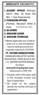 Lowongan Kerja PT. Tectron Manufacturing Batam