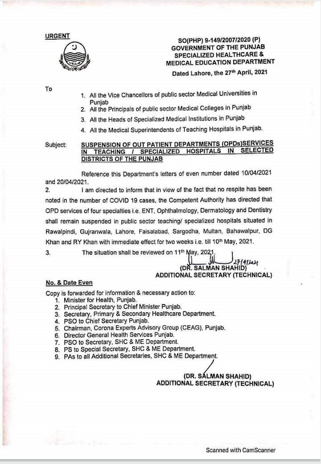SUSPENSION OF OUT PATIENT DEPARTMENTS (OPDs) SERVICES IN TEACHING / SPECIALIZED HOSPITALS