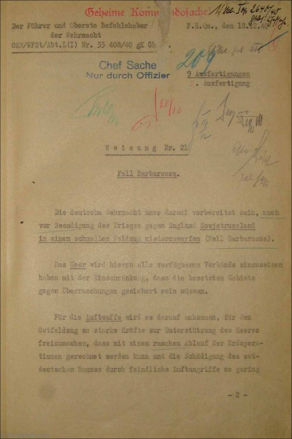 18 December 1940 worldwartwo.filminspector.com Fuhrer Directive No. 21 Operation Barbarossa front cover