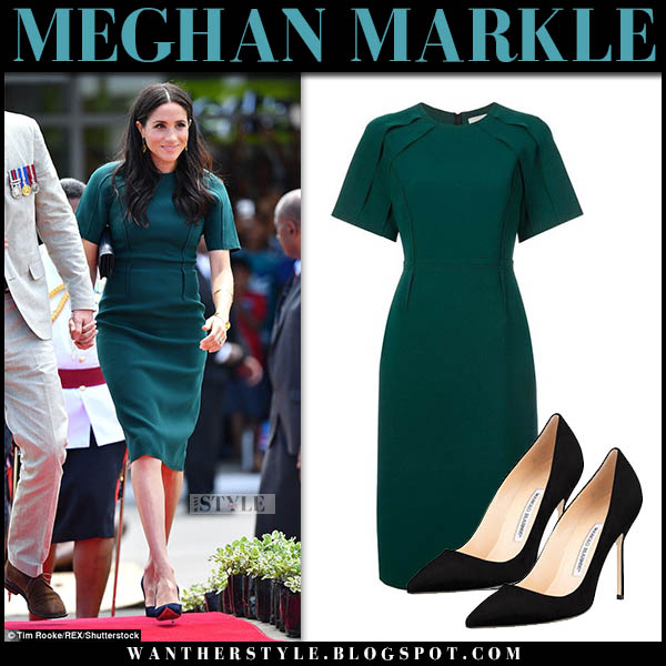 Meghan Markle in forest green short sleeve dress jason wu royal tour style fiji october 25