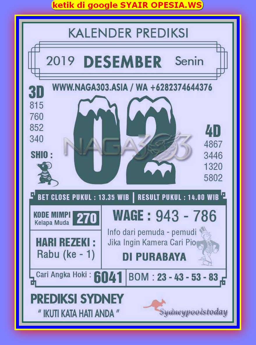 Kode syair Sydney Senin 2 Desember 2019 51