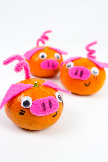 Adorable Mandarin Orange Pig Craft for Chinese New Year
