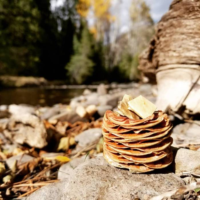 I thought this pinecone looked like a stack of pancakes, so I made some butter out of some fallen leaves.