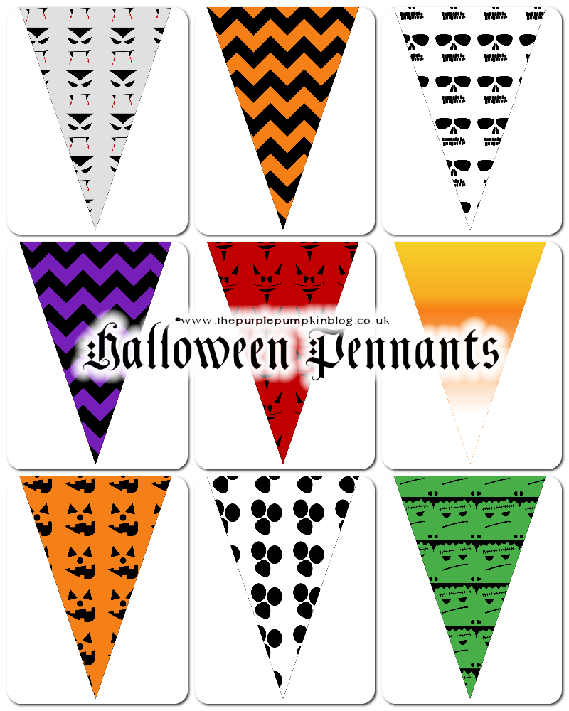Free Printables! Halloween Pennants - perfect for a frugal Halloween party because they're FREE to download + tons more Halloween printables!