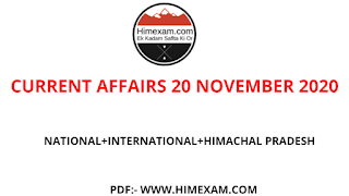Daily Current Affairs  20 November 2020