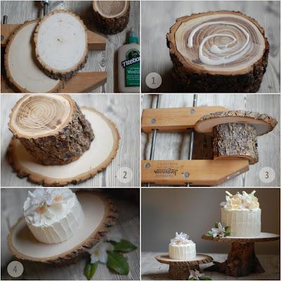 DIY base de tarta nupcial rustica con troncos de arbol