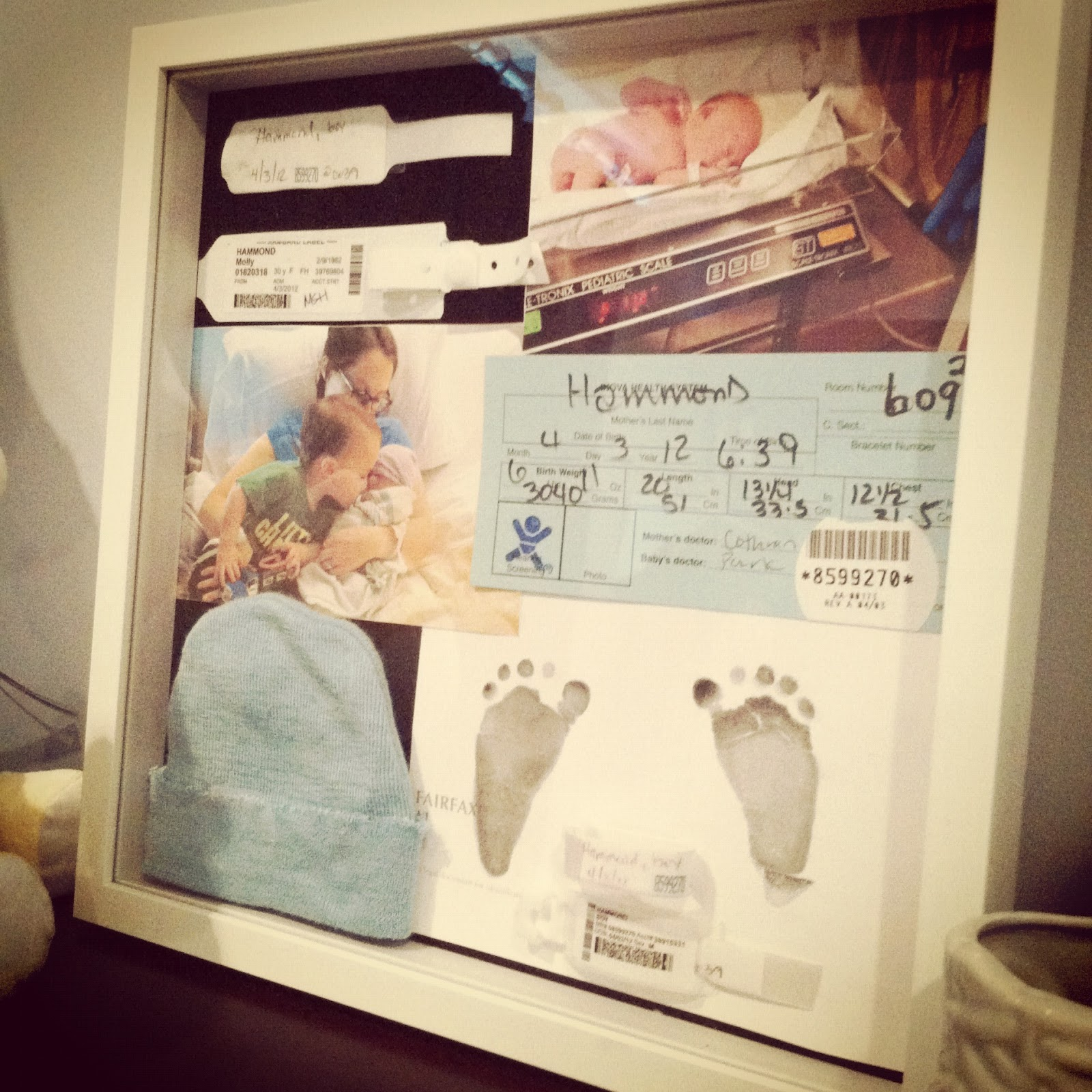 Three Sisterz Newborn Momento Shadowbox